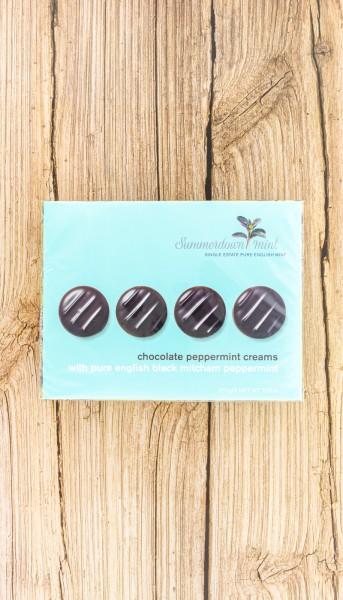 Schokoladen Taler gefüllt mit Minz Fondant